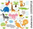 set of vector animals - stock vector