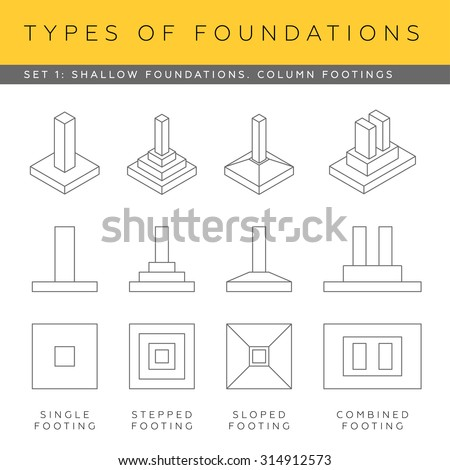 Steel pipe steel beam construction material stock vector for Foundations types