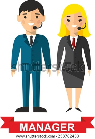 Set of vector business peoples. Vector illustration of a vector business peoples,manager man and woman