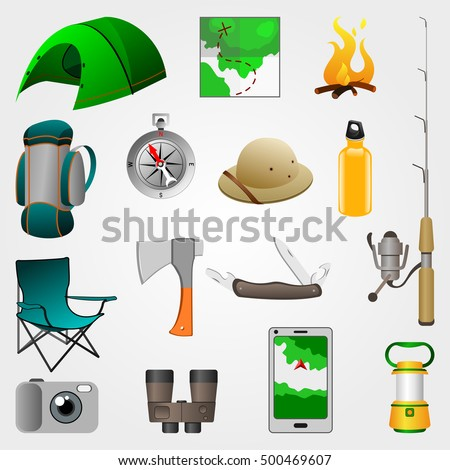 set of vector camping equipment icons
