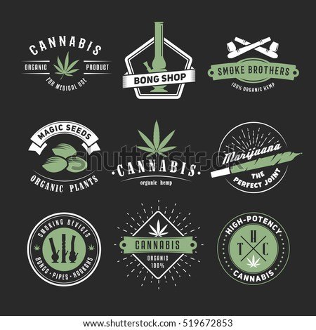 Set Vector Cannabis Badges Medical Marijuana Stock Vector
