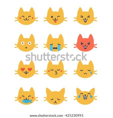 ... style. Cute cat emoji in cartoon style. Flat emoji isolated on white