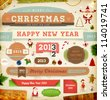 Set of vector Christmas ribbons, old dirty paper textures and vintage new year labels. Elements for Xmas design: santa, balls, sweet, mistletoe, fur-tree branches, snowman with gift, Gingerbread Man. - stock vector