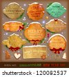 Set of vector Christmas ribbons, old dirty paper textures and vintage new year labels. Elements for Xmas design: balls, sweet, bells, mistletoe, fur-tree branches, snowman, gingerbread, stars and bow. - stock vector