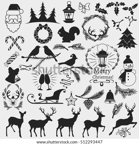 Set of vector christmas theme silhouettes