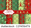 set of vector Christmas tree paper for scrapbook - stock vector