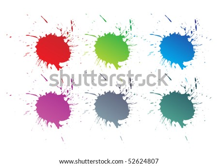 Set of vector color paint splashes  , vector illustration.
