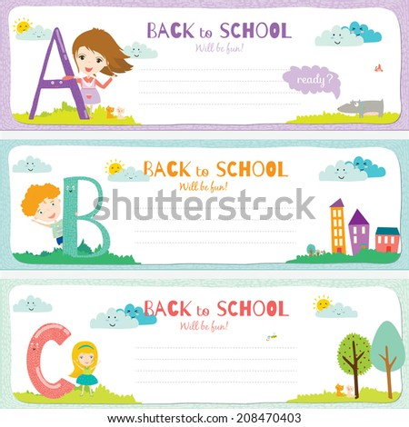 Set of vector design elements for back to school template design. Cute and cartoon illustration ready for your message. All for beginning of the school. Happy kids welcome to school. ABC.