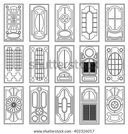 Set Of Vector Door Flat Icons Symbol Isolated On White Background