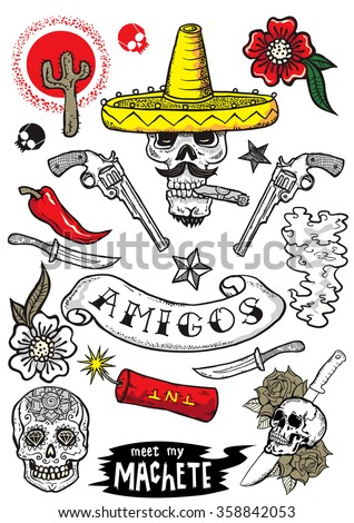 Set of vector elements. Mexican theme. Tattoo-art design. New traditional tattoo style. Hand-drawn vector images.Good for stickers. Easy to edit. EPS8 file.