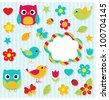 Set of vector elements - owls, birds, flowers, butterflies, ladybugs etc. - stock vector