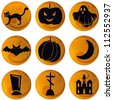 set of 9 vector Halloween icons on orange background - stock vector