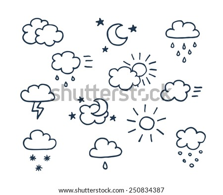 Set of vector hand-drawn weather icons