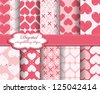 set of vector heart Valentines day pattern paper for scrapbook - stock vector