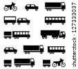 Set of vector icons - transportation symbols. Black on white. Cars, vehicles. Car body. - stock vector