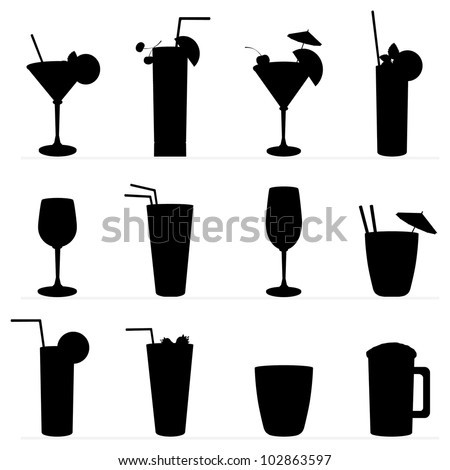 Set of vector illustration of different drinks and cocktails. Black silhouette .