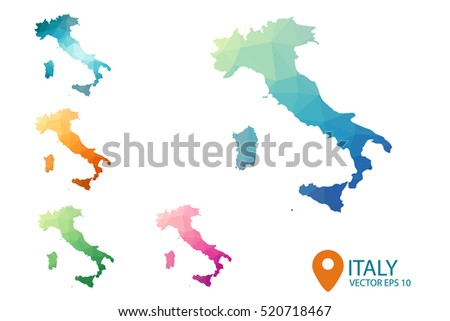 Set of vector polygonal Italy maps. Bright gradient map of country in low poly style. Multicolored country map in geometric style for your infographics. Vector illustration eps 10.