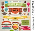 Set of vector retro ribbons, old dirty paper textures and vintage labels, banners and emblems. Elements collection for design. - stock vector