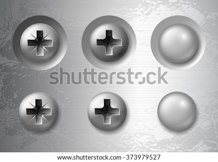 Set of vector screws, bolts and rivets