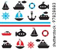 set of vector sea transport - stock vector