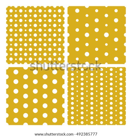 Set of vector seamless trendy modern spot patterns. White spots on gold background. Seamless pattern for web, print, textile print, wrapping paper, wallpaper, invitation card and scrapbooking