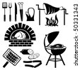 set of vector silhouette icons of barbecue and cooking meat - stock vector