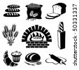 set of vector silhouette icons of bread and pastry - stock vector