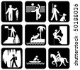 set of vector silhouette icons on the active leisure - stock photo