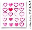 Set of vector sketch hearts  - stock vector