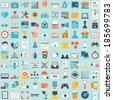 Set of 100 vector social media icons. Flat style design - part 2 - vector icons - stock