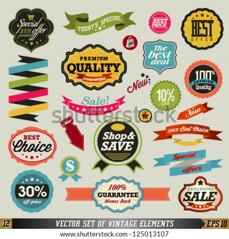 Set of vector stickers and ribbons. Graphic Design Editable For Your Design.
