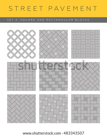 Set of vector street pavements: square and rectangular blocks