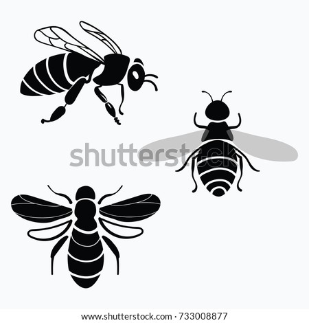 Set Of Vector Stylized Bees Collection Logos With A Honey Bee Black And