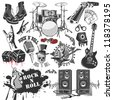 set of vector symbols related to rock and roll - stock vector