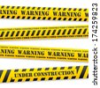 set of vector yellow tapes with black warning sign - stock