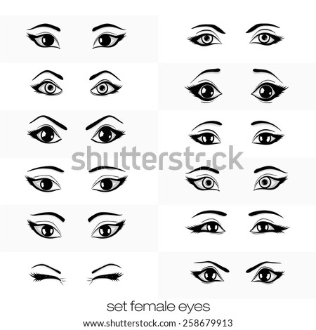 female woman eyes brows image collection stock vector. Black Bedroom Furniture Sets. Home Design Ideas