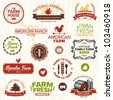 Set of vintage and modern farm logo labels and designs - stock vector