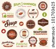 Set of vintage and modern sandwich shop and bistro cafe labels - stock vector
