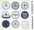 Set of vintage aviation labels - stock vector