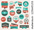 Set of vintage badges and stickers - stock photo