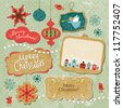 Set of Vintage Christmas and New Year elements - stock photo
