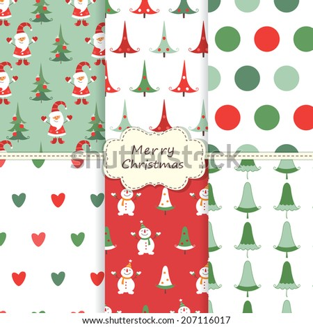 Set of vintage Christmas seamless patterns