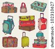 Set of Vintage Colorful Suitcases - for design and scrapbook in vector - stock vector