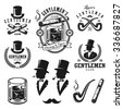 Set of vintage gentleman emblems, labels, badges and designed elements. Monochrome style - stock vector