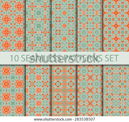 Set of vintage geometric seamless patterns. Ten fashion sophisticated ornaments with Swatch for filling.