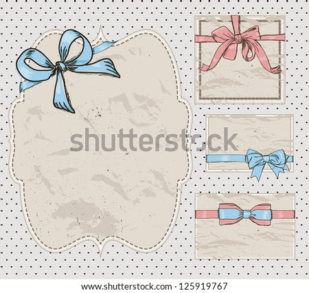 Set of vintage gift bows. Vector illustration EPS8