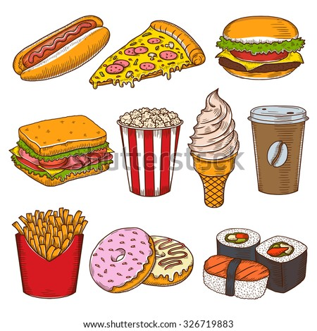 Set of vintage hand drawn fast food icons. Pizzeria, cafe, burgers vector illustrations.