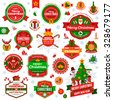 Set Of Vintage Happy New Year and Merry Christmas Badges and Labels. Christmas Scrapbook Set. Ribbons, Flat Icons and Other Elements. Vector illustration. Cute Christmas Characters. Season Greetings.