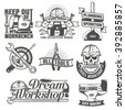 Set of vintage logos to repair workshop, tool shop or something. The text on a separate layer - easy to replace. - stock vector