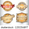 set of vintage orange quality labels - stock
